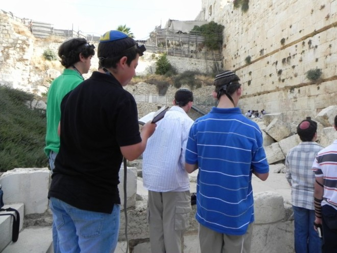 Almost identical view as from Kotel plaza, but actually more wall, as Davidson dug many more meters deeper, reaching the original stone street from 2,000 years ago.